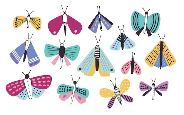 Coleção de mariposas de desenhos animados de cores brilhantes de diferentes tipos e tamanhos, isoladas no branco