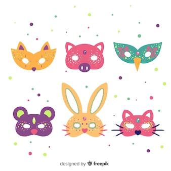 Coleção de máscara animal carnaval