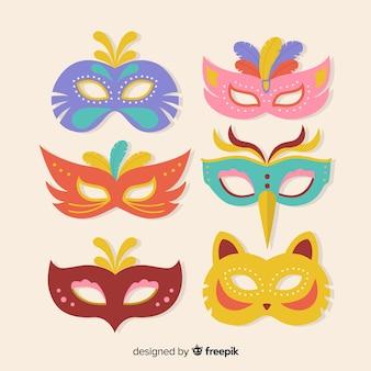 Coleção de máscara de carnaval plana