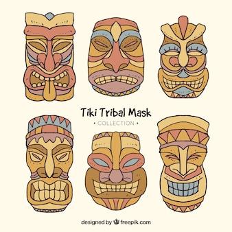 Coleção de máscara de madeira tiki