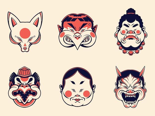 Coleção de máscara tradicional japonesa