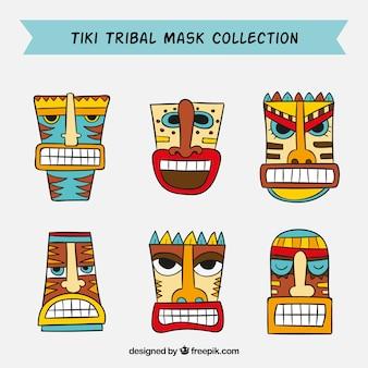 Coleção de máscara tribal tiki