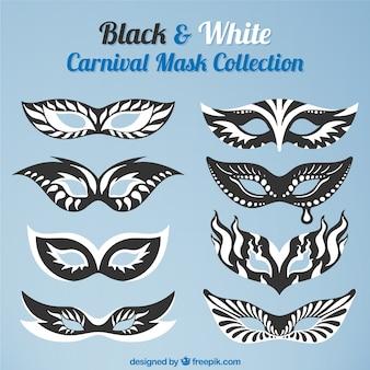 Coleção de máscaras de carnaval preto e branco