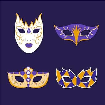 Coleção de máscaras de carnaval veneziano 2d