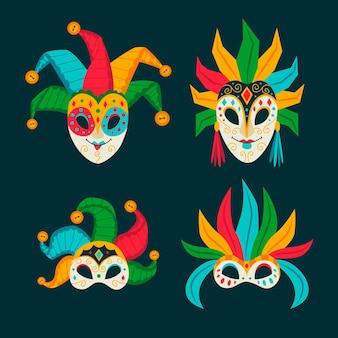 Coleção de máscaras de máscaras 2d Vetor Premium
