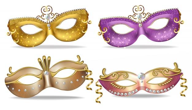 Coleção de máscaras de ouro e roxo