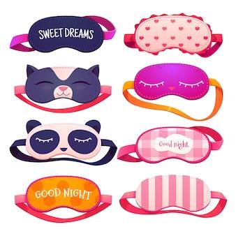Coleção de máscaras de sono de desenho animado