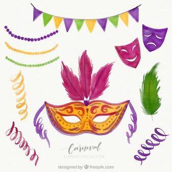 Coleção de máscaras e elementos de carnaval desenhados a mão