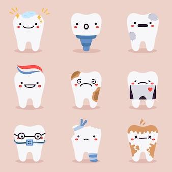 Coleção de mascotes de dentes bonitos