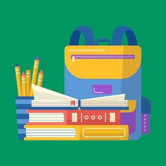 Coleção de material escolar com caderno, caneta, mochila, livros, globo. vetor de volta ao fundo da escola com artigos de papelaria. acessórios de escritório.