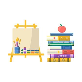 Coleção de material escolar com caderno, caneta, mochila, régua, livros, conjunto de pincel e tintas. vetor de volta ao fundo da escola com artigos de papelaria. acessórios de escritório.