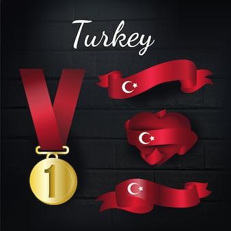Coleção de medalhas de ouro e fitas de turquia