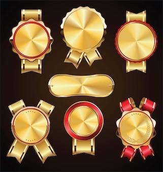 Coleção de medalhas de ouro vintage retrô e rótulos