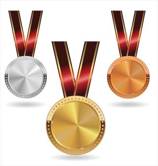 Coleção de medalhas de prata e bronze de ouro