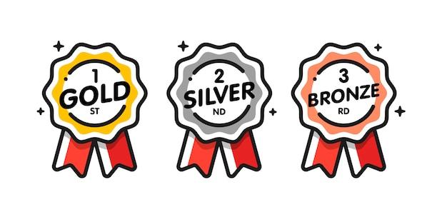 Coleção de medalhas desenhada à mão
