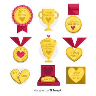 Coleção de medalhas do dia dos namorados