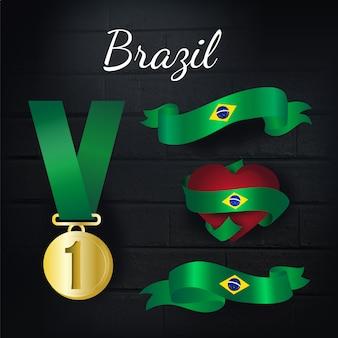 Coleção de medalhas e fitas de ouro do brasil
