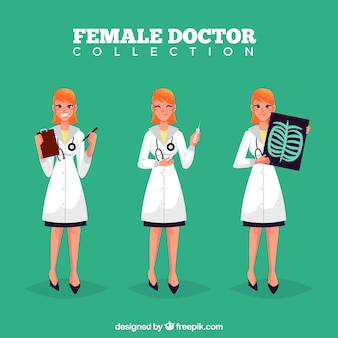 Coleção de médico do sexo feminino em diferentes tarefas