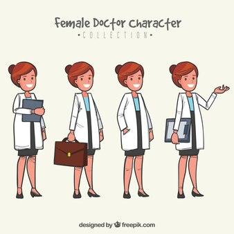 Coleção de médicos do sexo feminino com casaco branco