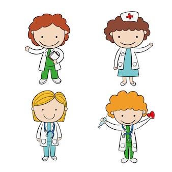 Coleção de médicos e enfermeiras desenhada à mão