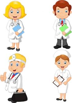 Coleção de médicos e enfermeiros dos desenhos animados