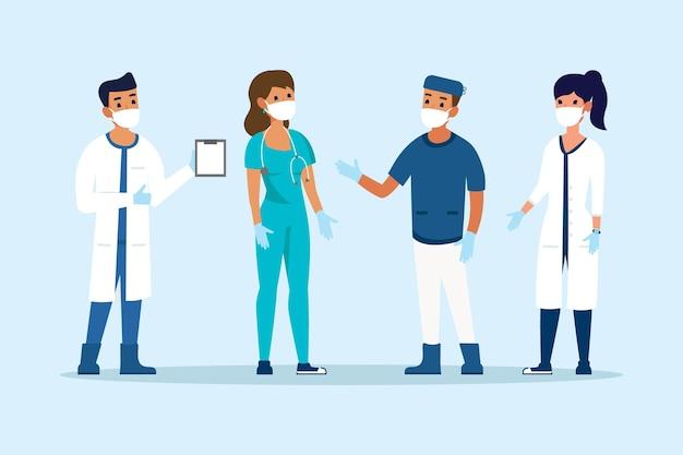 Coleção de médicos e enfermeiros