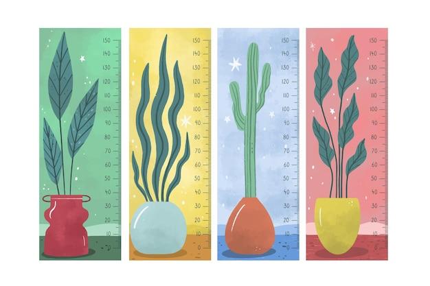 Coleção de medidores de altura desenhada à mão ilustrada