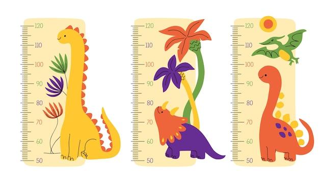 Coleção de medidores de altura desenhada à mão