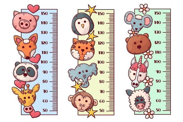 Coleção de medidores de altura desenhados à mão para crianças ilustrada
