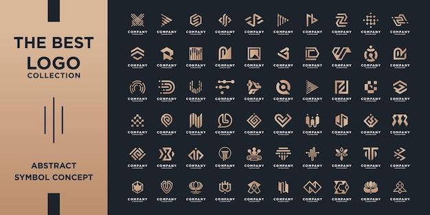 Coleção de mega logotipo, conceito de design abstrato para branding com gradiente dourado. Vetor Premium