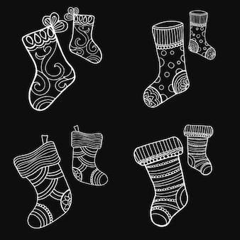 Coleção de meias de natal desenhadas a mão