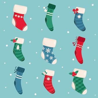 Coleção de meias de natal. feliz natal