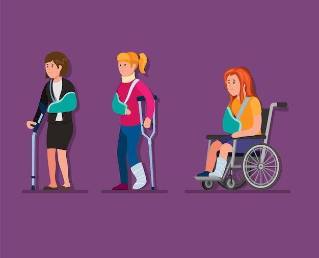 Coleção de menina com ferimento definida no conceito de desgaste gips na ilustração dos desenhos animados Vetor Premium
