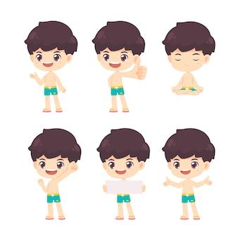 Coleção de menino bonito no conceito de verão