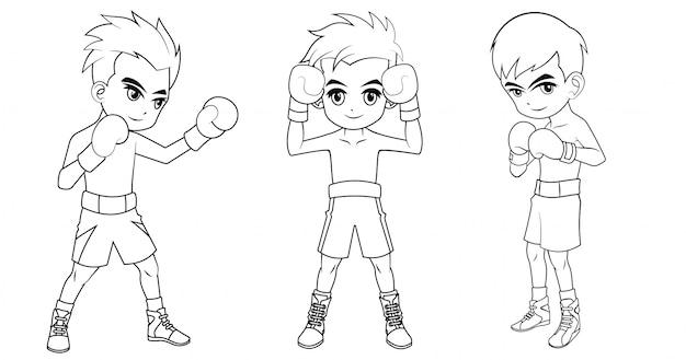 Coleção de menino de boxe dos desenhos animados, usada para colorir livro
