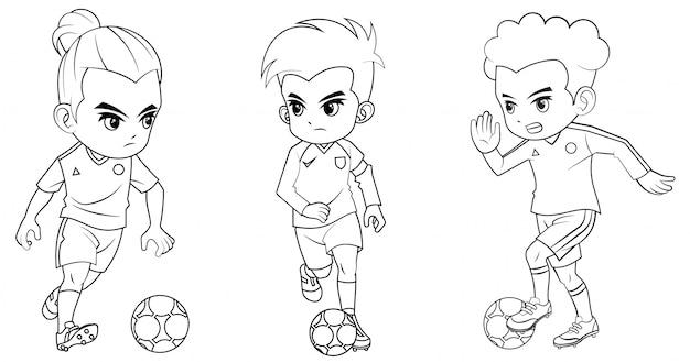 Coleção de menino de futebol dos desenhos animados usada para colorir livro