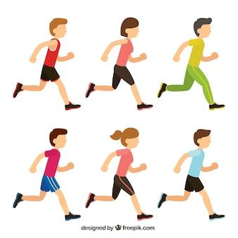 Coleção de meninos e meninas correndo