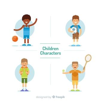 Coleção de meninos plana de dia das crianças