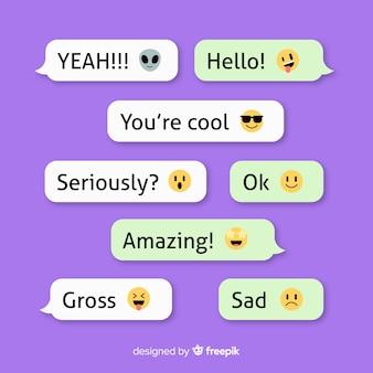 Coleção de mensagens com emojis