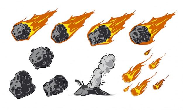 Coleção de meteoros com cometas caindo.