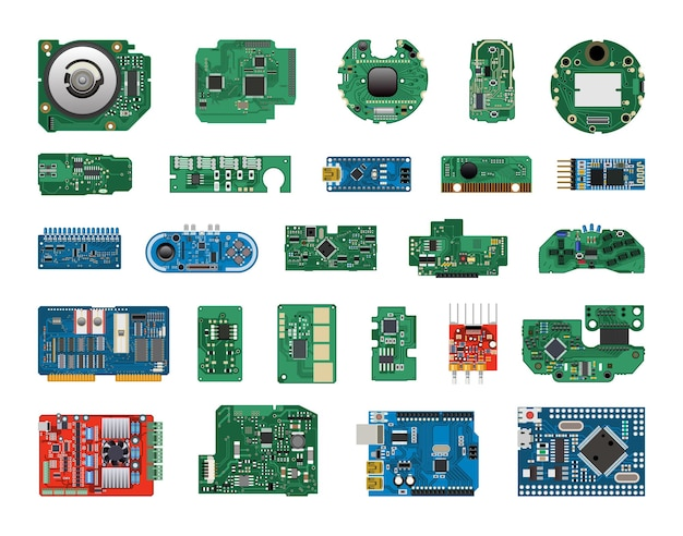 Coleção de microcircuitos e placas