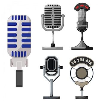 Coleção de microfone retrô