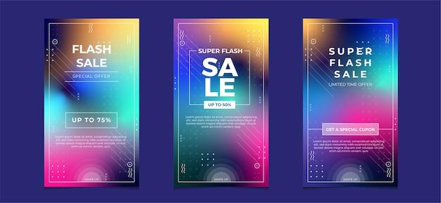 Coleção de mídia social de venda em flash com cor gradiente desfocada