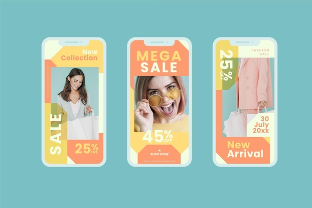 Coleção de mídia social de venda modelo feliz