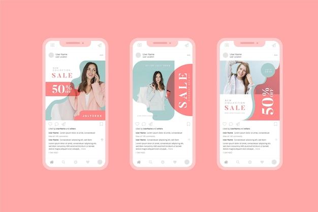 Coleção de mídia social de venda orgânica de moda