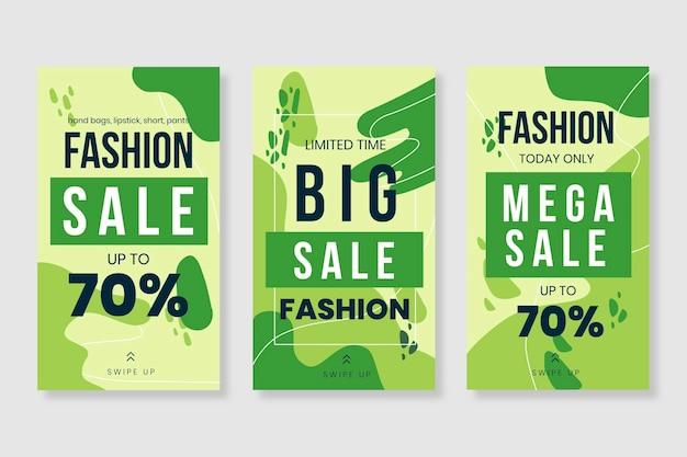 Coleção de mídia social de venda orgânica de tons de verde
