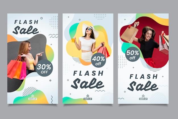 Coleção de mídia social de vendas em flash