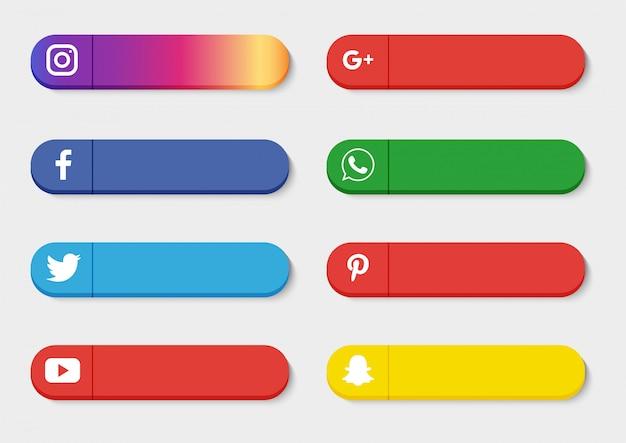 Coleção de mídia social terço inferior isolado no fundo branco.