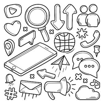 Coleção de mídias sociais doodle