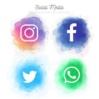 Coleção de mídias sociais em aquarela